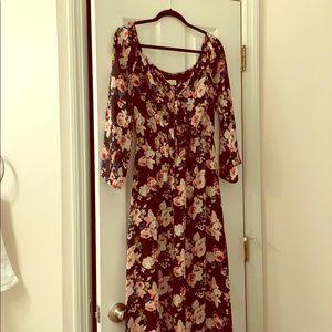 Long sleeve floral off the shoulder long dress